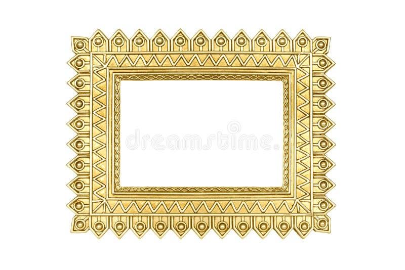 Złoto rama odizolowywająca na bielu z ścinek ścieżką zdjęcie royalty free