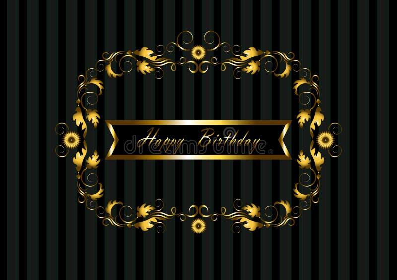 Złoto rama z kwiecistym wzorem i faborku wszystkiego najlepszego z okazji urodzin ilustracji