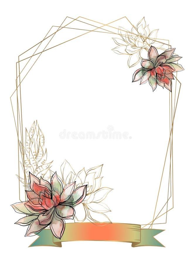 Złoto rama z sukulentów kwiatami akwarela grafit wektor ilustracja wektor