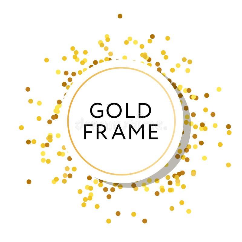 Złoto Ramowego round minimalizmu projekta Wektorowy sztandar ilustracja wektor