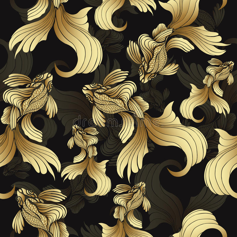 Złoto ryba, bezszwowy wzór Dekoracyjna abstrakt ryba z złotym, waży, fryzujący żebra na czarnym tle Biżuteryjny ornament Bogactwo ilustracja wektor