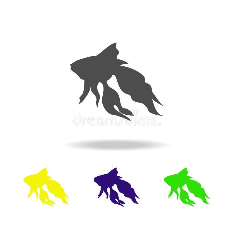 złoto rybiej sylwetki stubarwne ikony Element baśniowi bohaterzy ilustracyjni Znaki i symbol inkasowa ikona dla stron internetowy ilustracja wektor