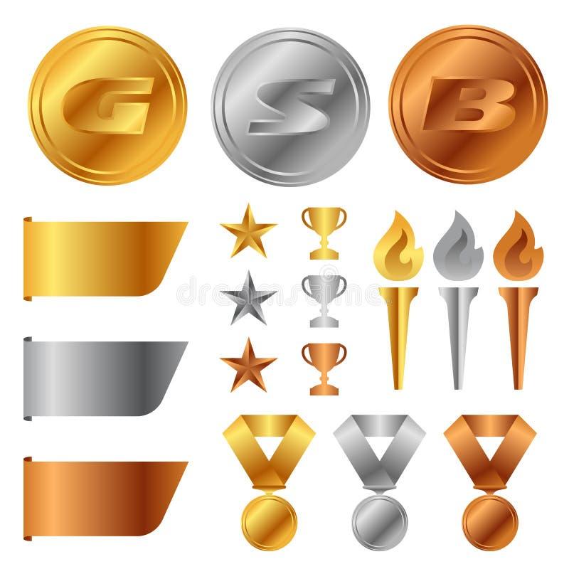 Złoto srebni brązowi medale, trofeum filiżanka, początek nagroda, pochodnia i etykietka sztandaru wektoru ustalony projekt, royalty ilustracja