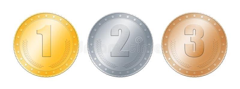 Złoto, srebro, brąz monety lub medale nad bielem, ilustracja wektor