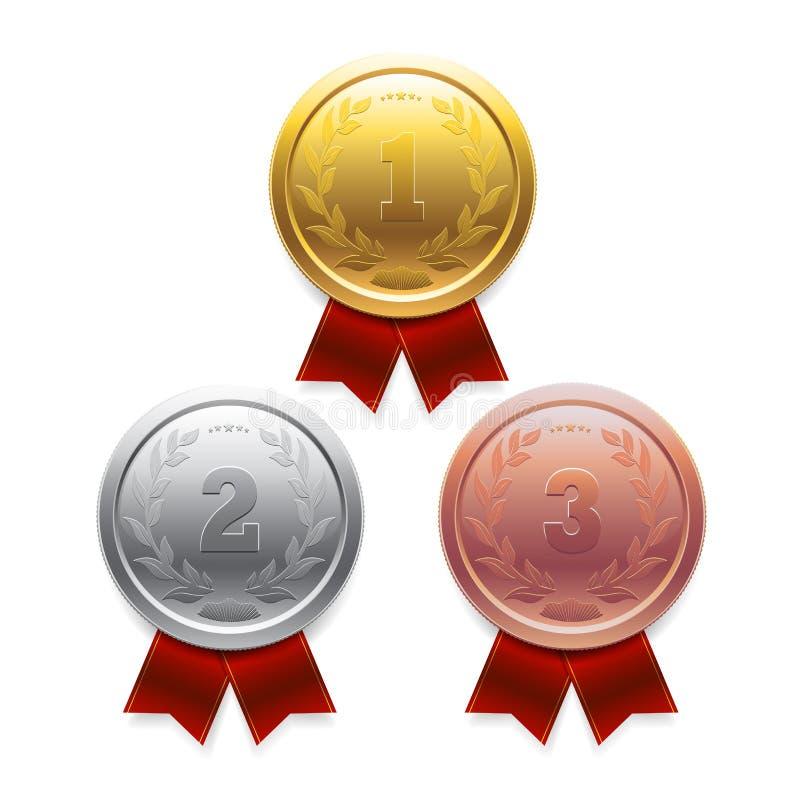 Złoto, srebro, brązowa nagroda w 3D z czerwoni faborki ilustracji