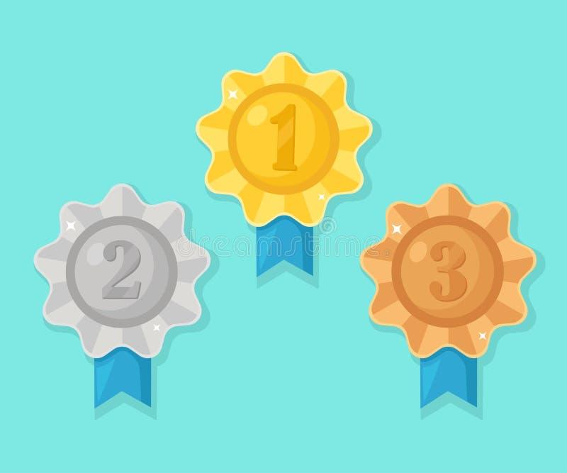 Złoto, srebro, brązowy medal dla pierwszy miejsca Trofeum, nagroda dla zwycięzcy odizolowywającego na błękitnym tle Set zł royalty ilustracja