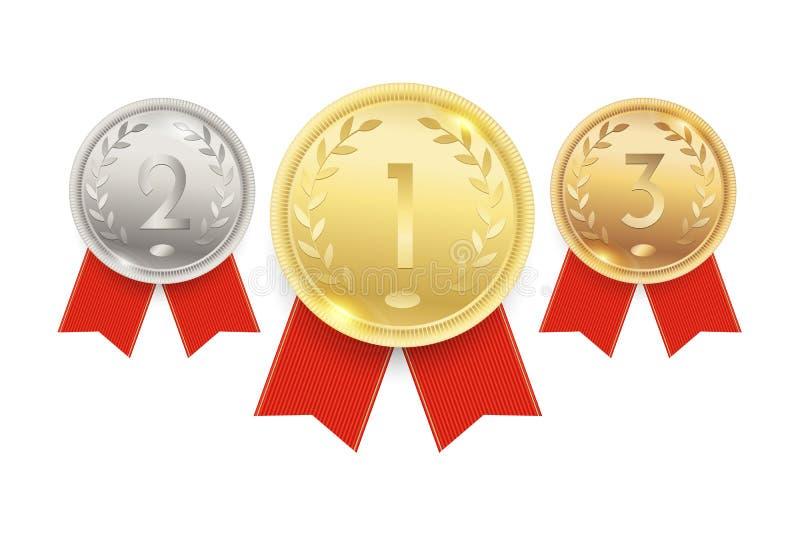 Złoto, srebro i brązowi medale, mistrzostwo nagrody z czerwonymi faborkami również zwrócić corel ilustracji wektora royalty ilustracja