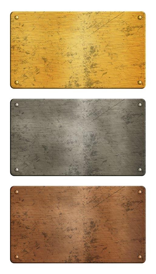 Złoto, srebro, miedziani metali talerze nad bielem ilustracja wektor