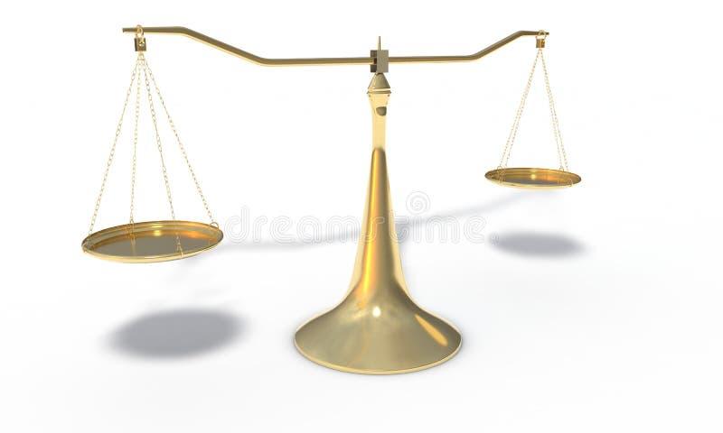 Złoto waży odosobnionego na bielu, 3d odpłaca się ilustracja wektor
