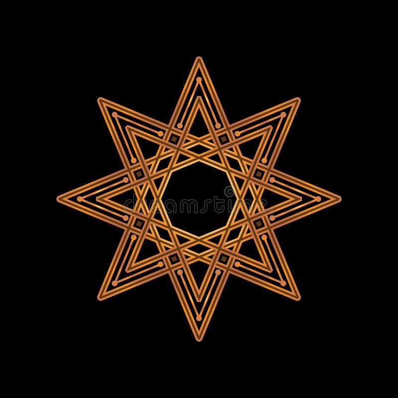 Złoto wskazująca gwiazda na czarnym tle również zwrócić corel ilustracji wektora Korporacyjna ikona tak jak logotyp i logo projek ilustracji