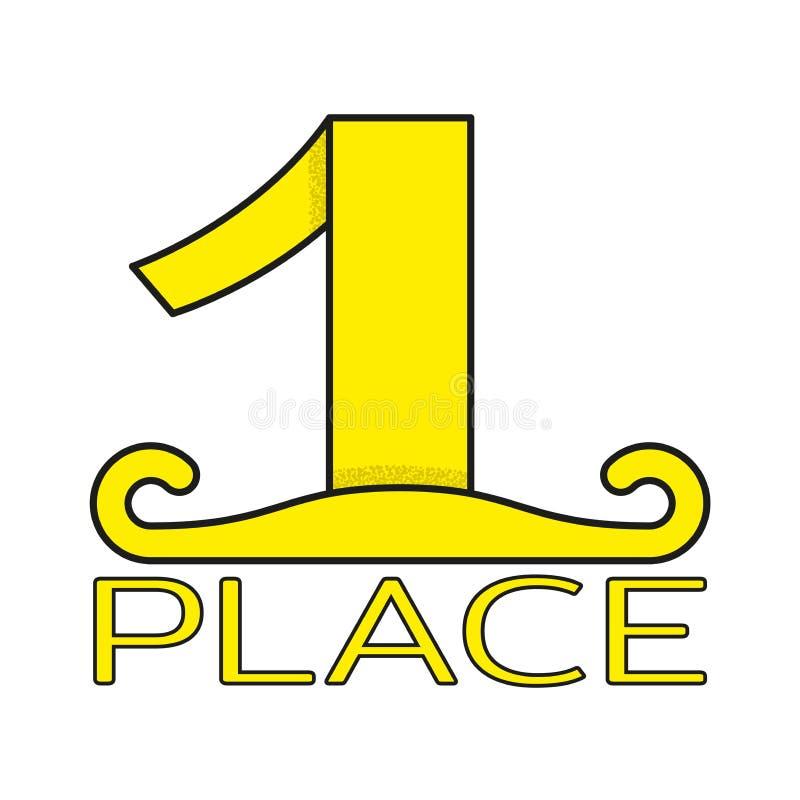 Złoto znaczka pierwszy miejsce Sport lub biznesowy nagroda projekta element odizolowywający na bielu wektor ilustracji
