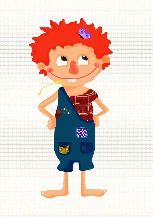 złotowłosy czerwony chłopcze royalty ilustracja