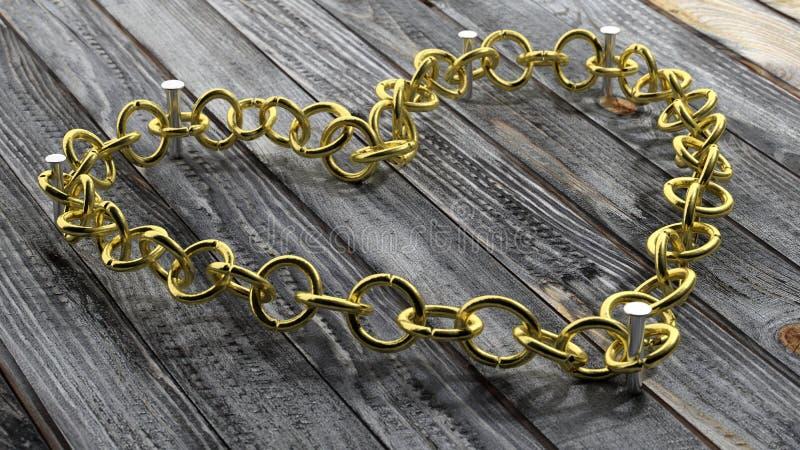 Złoty łańcuch w kształcie serce ilustracja wektor