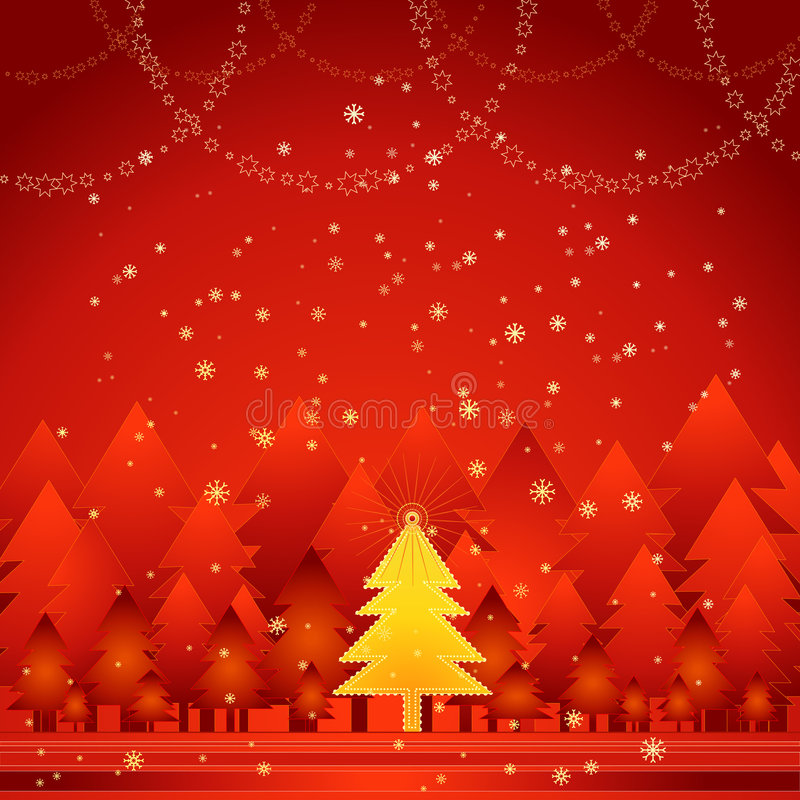 złoty świątecznej drzewny wektora ilustracji