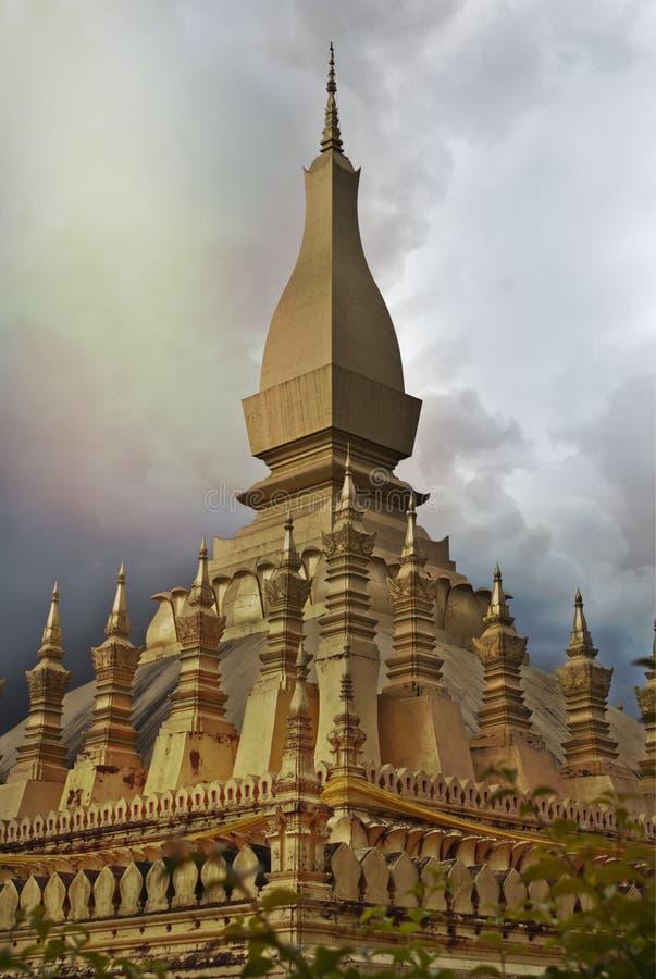 Złoty świątynny Laos fotografia stock