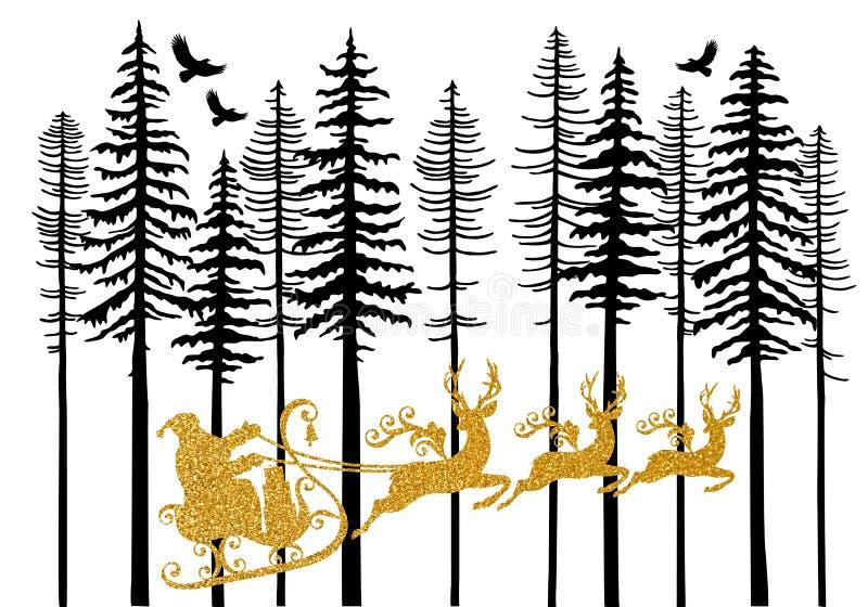 Złoty Święty Mikołaj z jego saniem, wektor royalty ilustracja