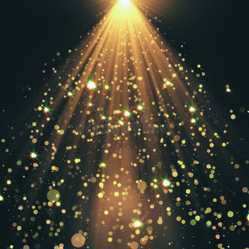 Złoty światła reflektorów tło ilustracji