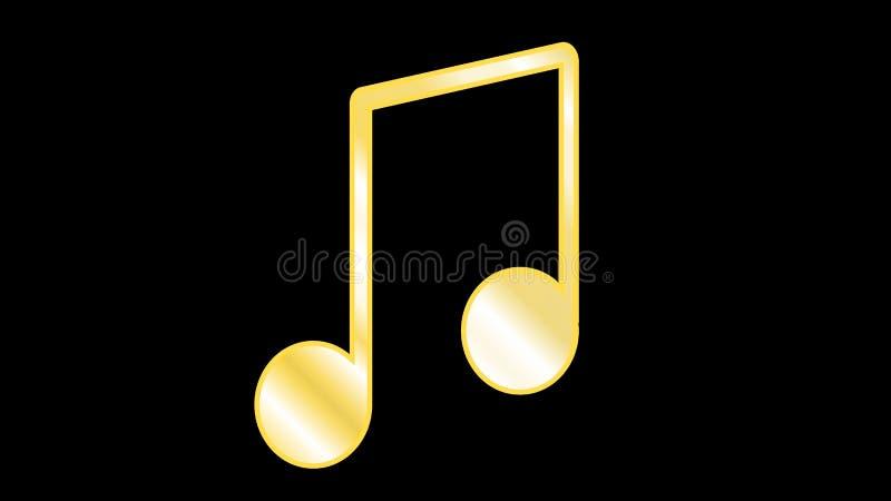 Złoty żółty ożebrowanie lub dzianie, grubas wykładamy łączyć muzykalne notatki gdy grupujący notatki wśrodku barów odizolowywając ilustracja wektor