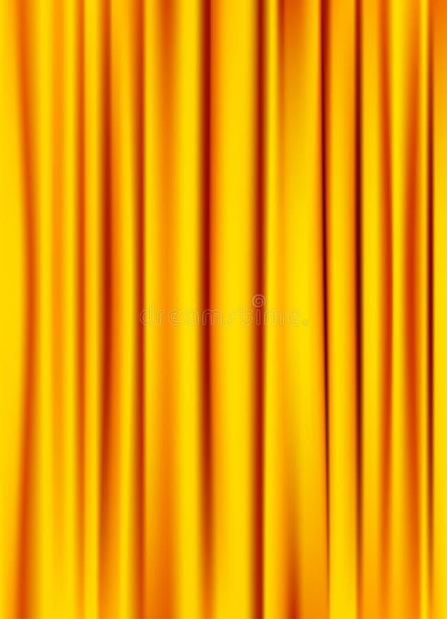 Złoty żółty silky zasłony tło ilustracja wektor