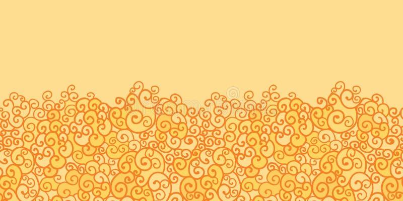 Złoty absract ogień wiruje horyzontalny bezszwowego ilustracji
