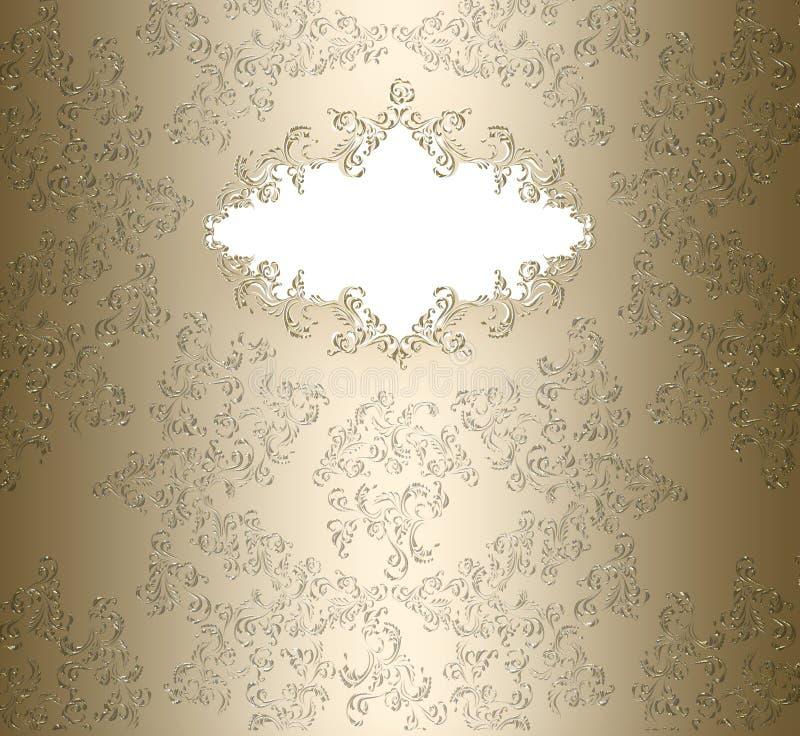 Złoty adamaszkowy kwiecisty sztandar ilustracja wektor