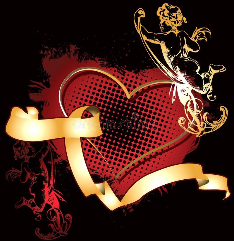 złoty amorka serce ilustracja wektor