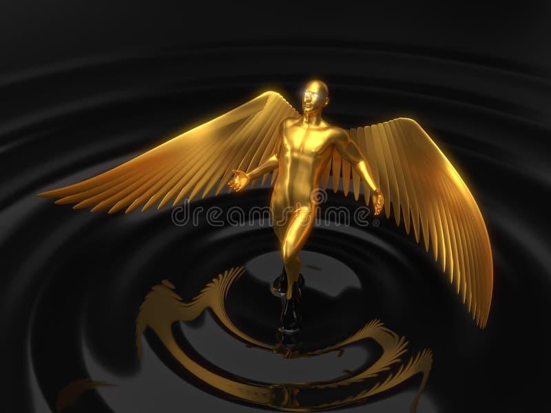 Złoty anielski charakteru wydźwignięcie od czarnego ciecza ilustracja 3 d ilustracja wektor