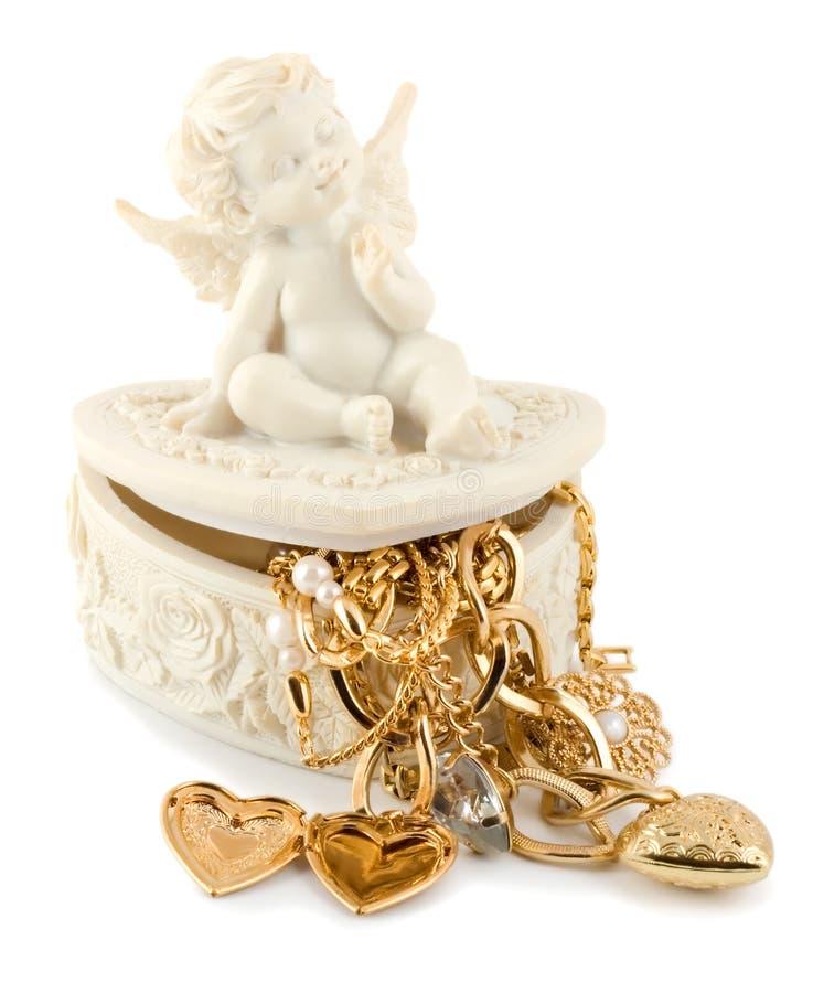 złoty anioła serce zdjęcia stock