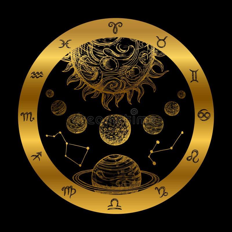 Złoty astrologii pojęcie z planetami odizolowywać na czarnym tle ilustracji