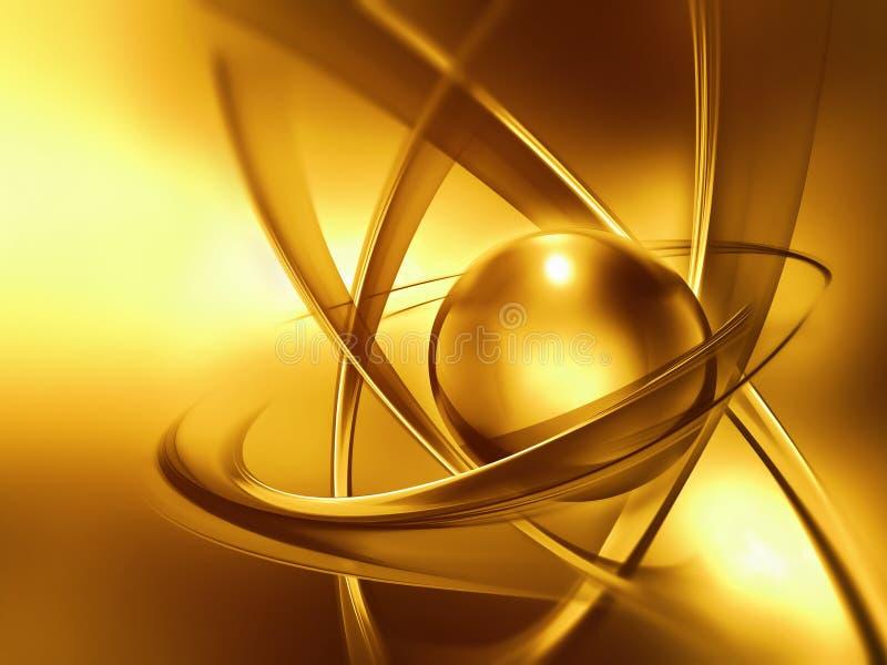 Złoty atomu zakończenie up royalty ilustracja