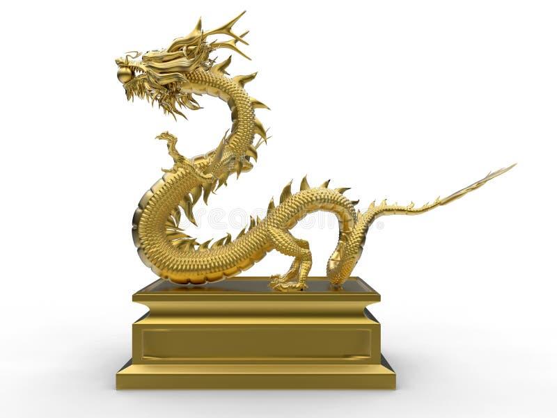 Złoty Azjatycki smok na stojaku - boczny widok ilustracji