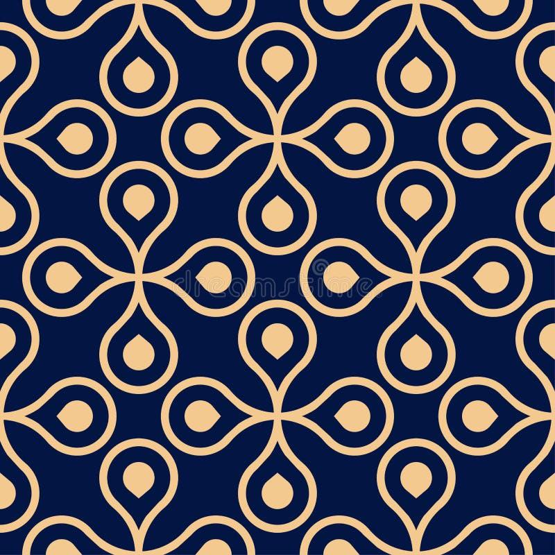 Złoty błękitny geometryczny ornament bezszwowy wzoru royalty ilustracja