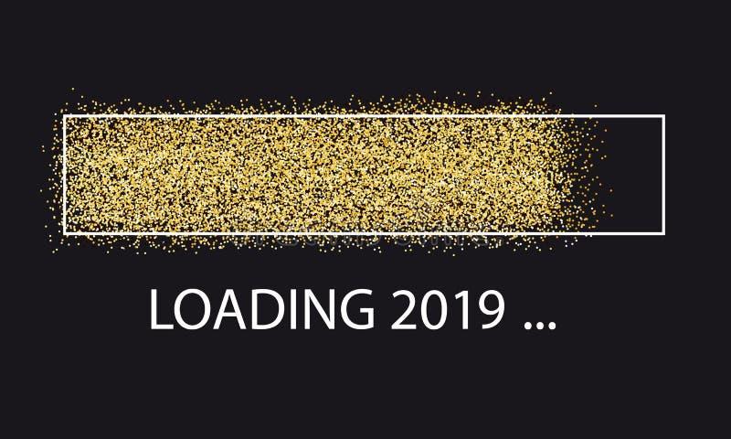 Złoty błyskotliwości ładowania baru nowy rok 2019 Odizolowywający Na czerni - Wektorowa ilustracja - ilustracji