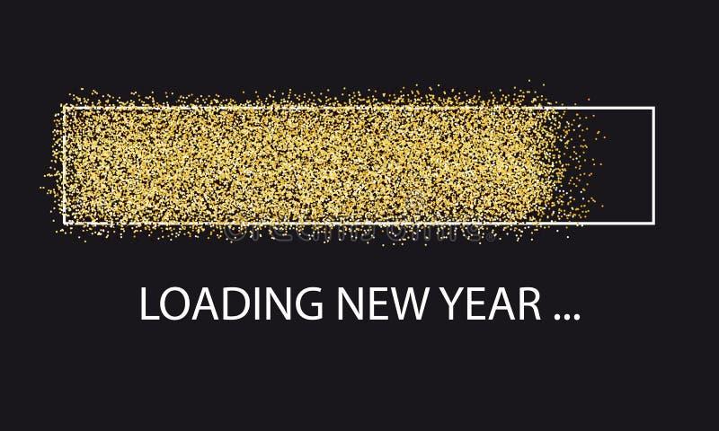 Złoty błyskotliwości ładowania baru nowy rok - Wektorowa ilustracja Odizolowywająca Na czerni ilustracja wektor