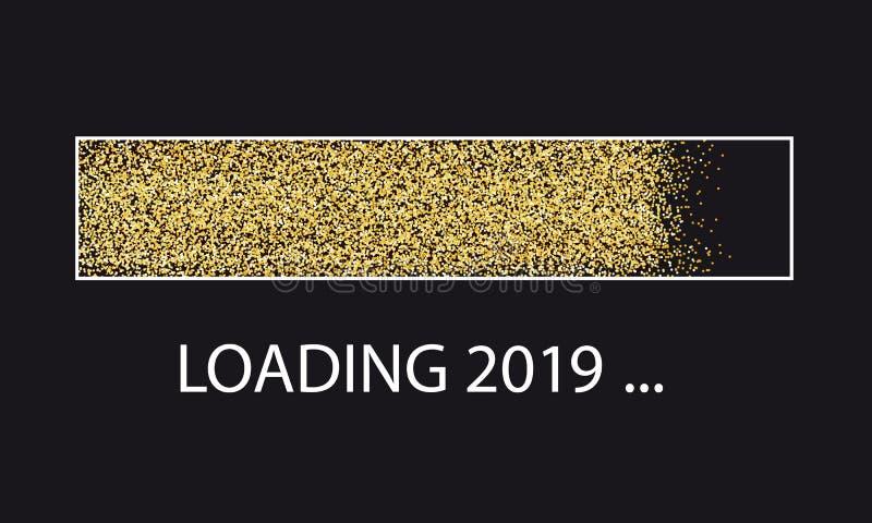 Złoty błyskotliwości ładowania baru nowy rok 2019 Z ramą Odizolowywającą Na Czarnym tle - Wektorowa ilustracja - ilustracji