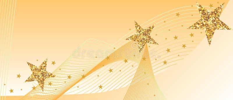 Złoty błyskotliwości gwiazdy linecard sztandar ilustracja wektor