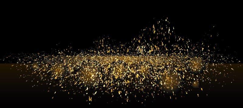 Złoty błyskotliwości platformy fala sztandar ilustracja wektor
