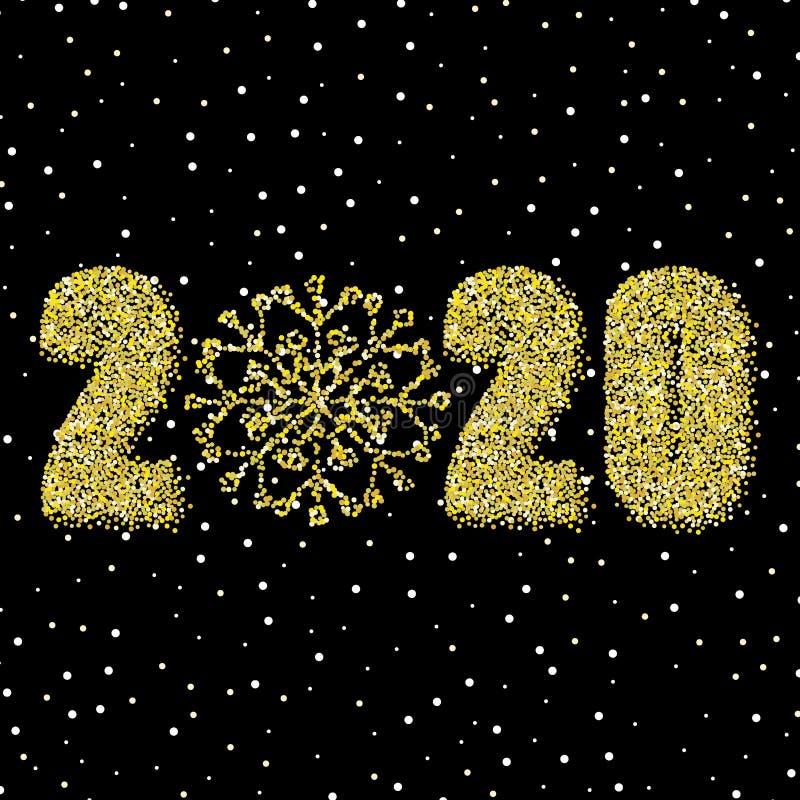 Złoty błyszczący płatek śniegu jasny tło Nowy Rok 2020 eps 10 ilustracja wektor