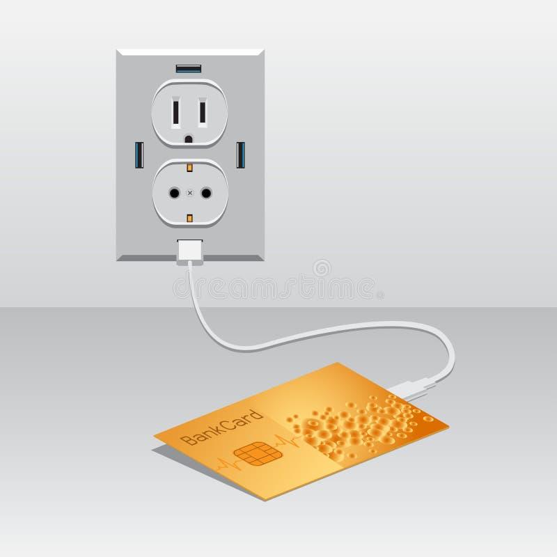 Złoty BankCard ładować usb ilustracji