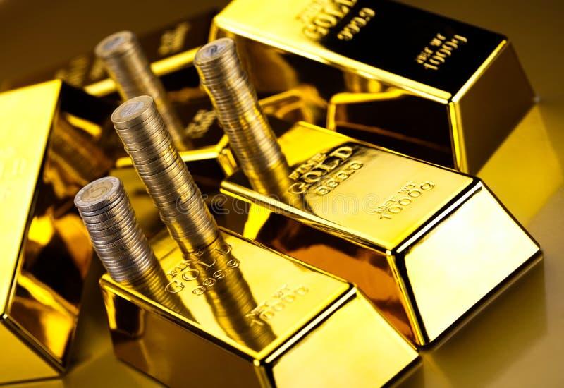 Złoty bar, nastrojowy pieniężny pojęcie obrazy royalty free