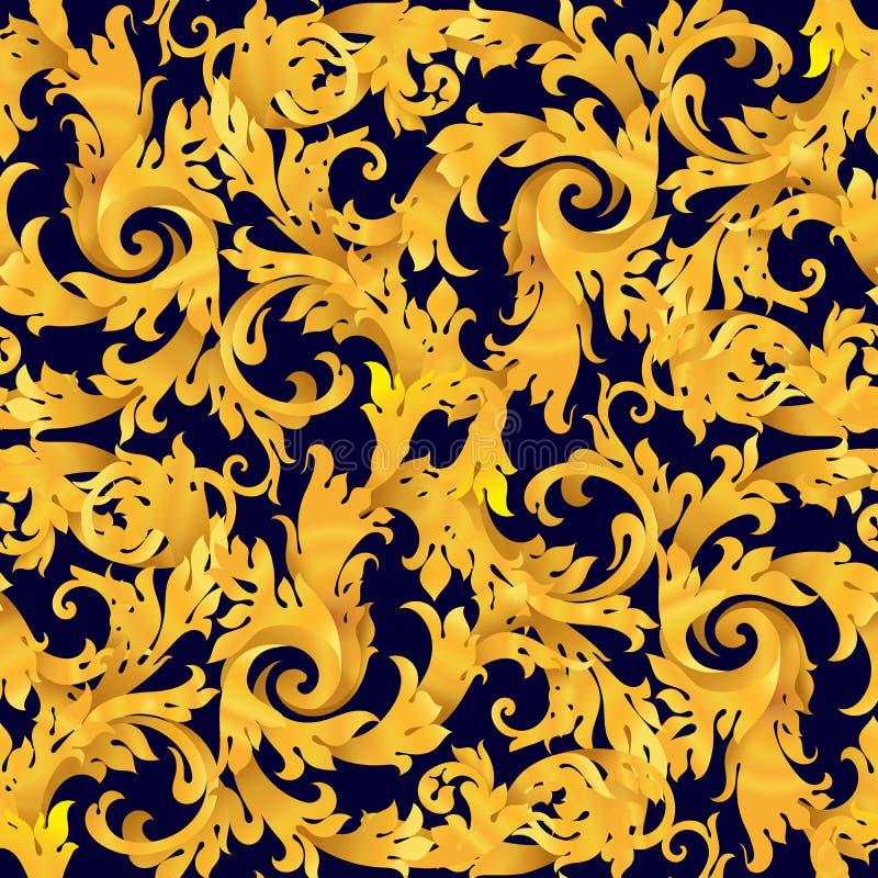 Złoty bezszwowy wektorowy wiktoriański barok ilustracja wektor