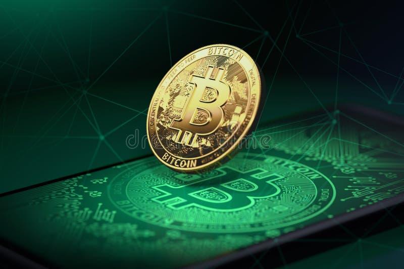 Złoty bitcoin levitating nad smartphone z Bitcoin logo na nim Bitcoin i Blockchain pojęcie świadczenia 3 d royalty ilustracja