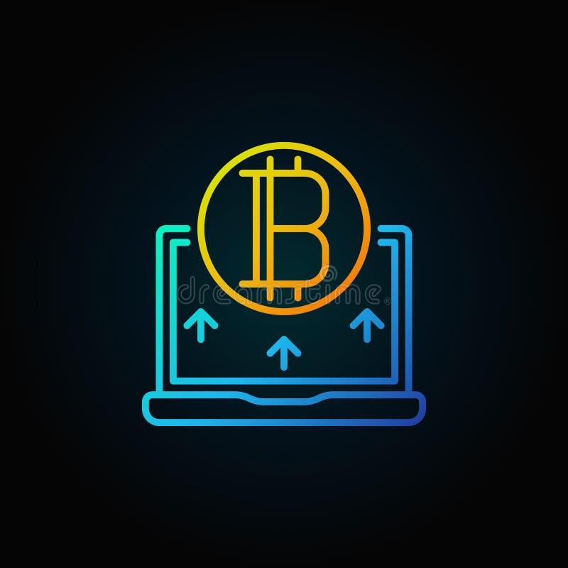 Złoty bitcoin z błękitną laptop linii ikoną - wektorowy cryptocurrency ilustracja wektor