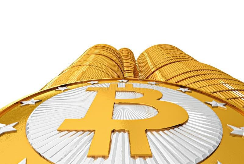 Złoty Bitcoins ilustracja wektor