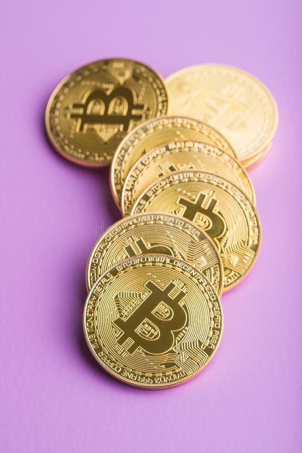 Złoty Bitcoins Cyfrowy Cryptocurrency obraz royalty free