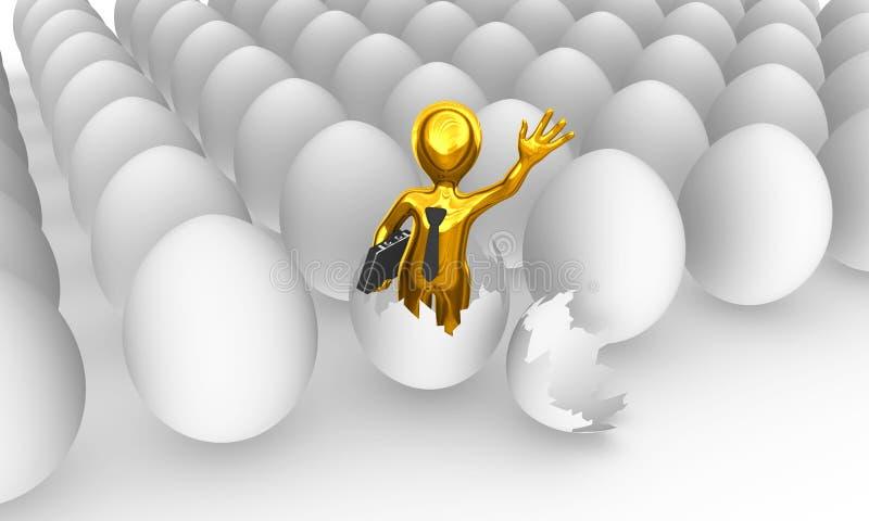 Złoty biznesmen był urodzony od jajka ilustracji