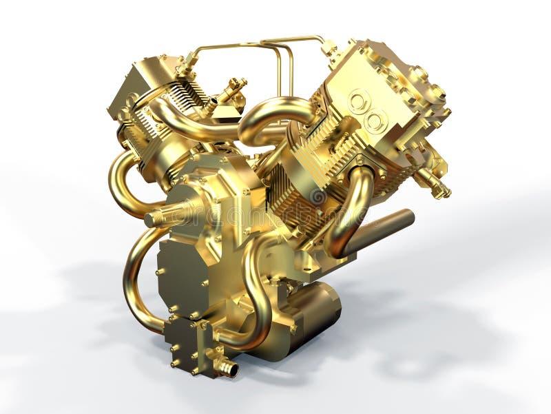 Złoty bliźniaczy silnik royalty ilustracja
