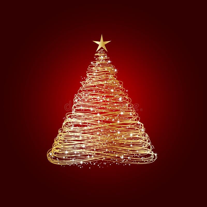 złoty Bożego Narodzenia drzewo ilustracja wektor