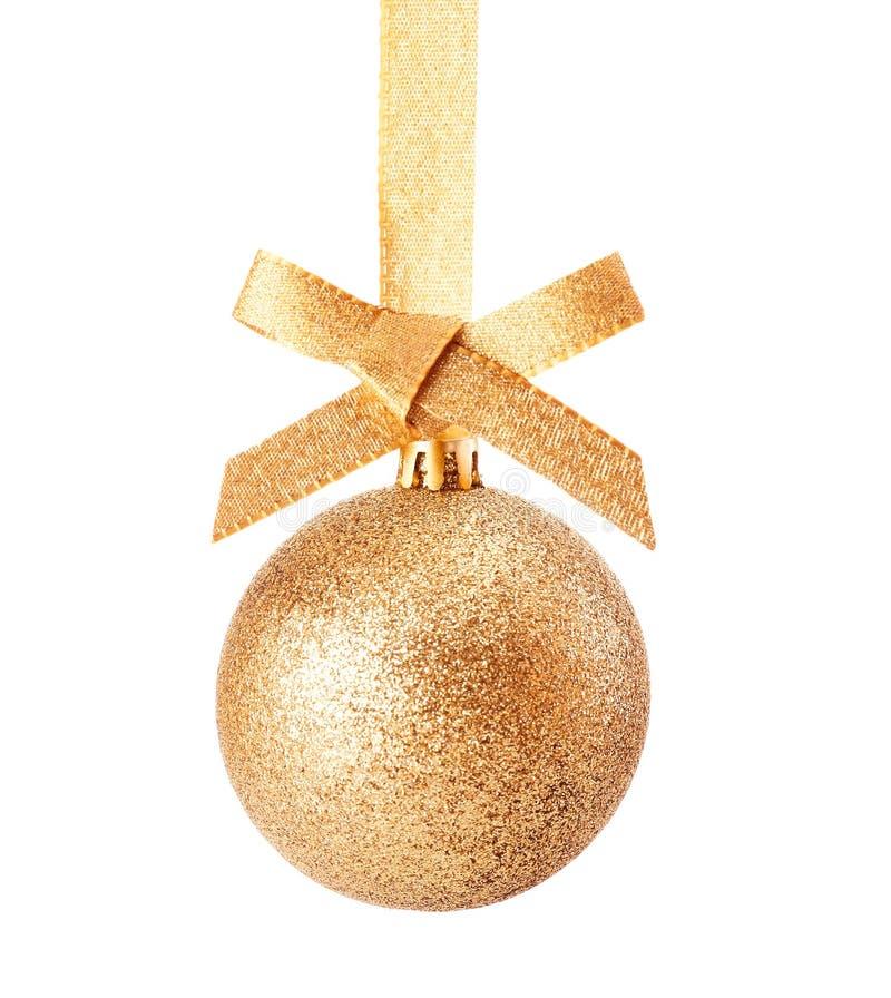 Złoty Bożych Narodzeń błyskotliwości bauble fotografia stock