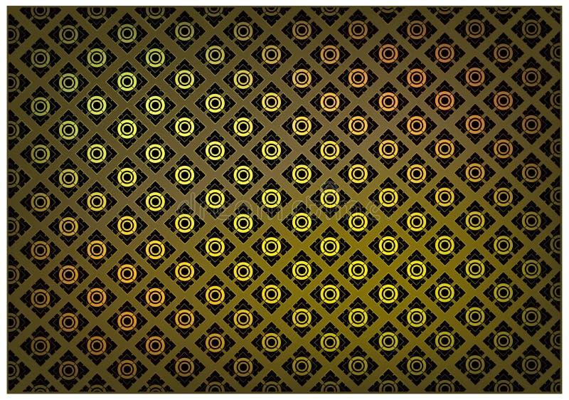 Złoty Brown kolor Tajlandzki rocznik tapety wzoru tło ilustracja wektor
